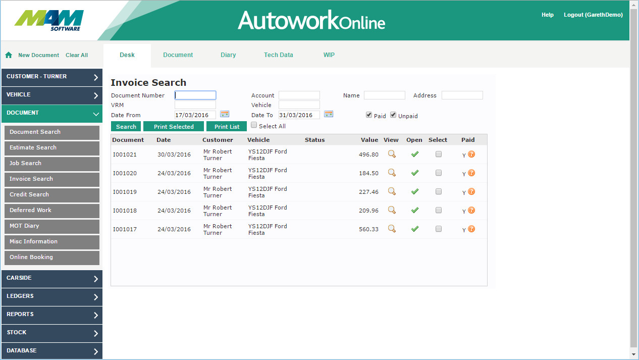 Garage Management Software Image Gallery Autowork Online - Garage invoice software