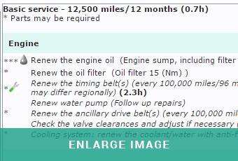 MAM Software Autowork Online service schedule screen