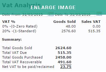 MAM Autowork Online VAT reporting screen