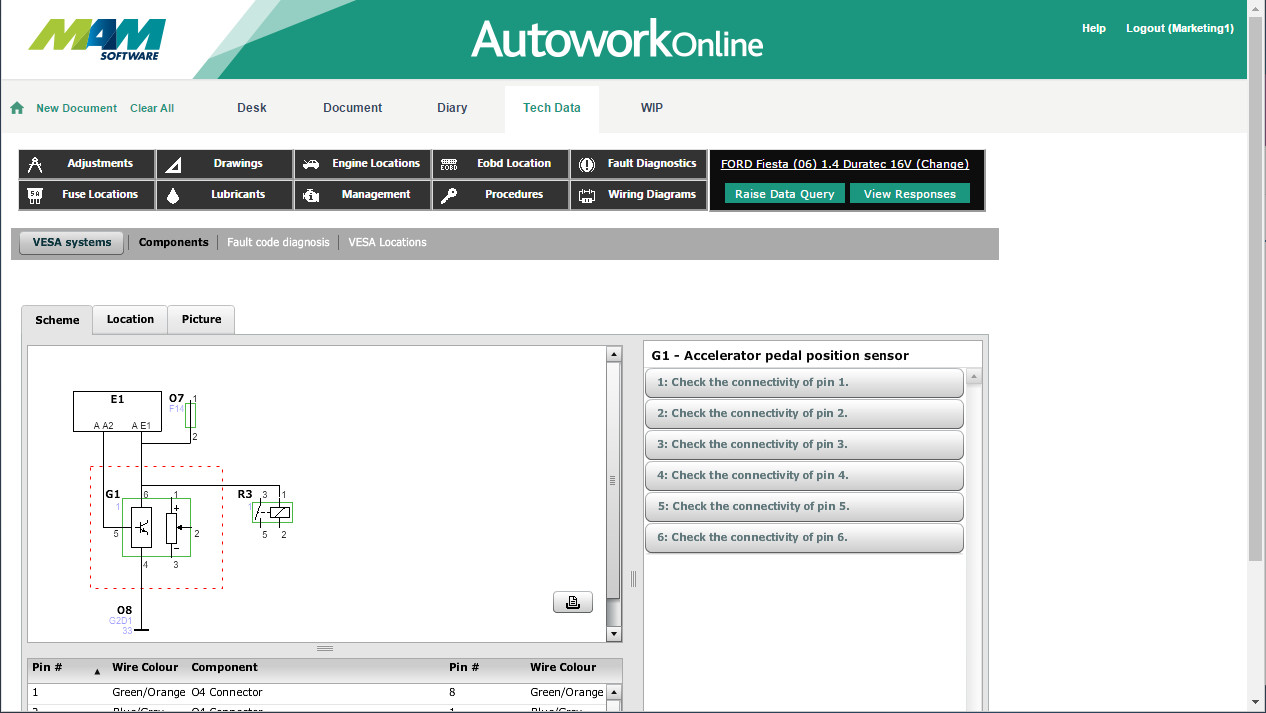 Automotive Technical Data Autowork Online Garage Wiring Diagram Free Download Schematic Mam Software Management