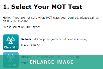 A range of different MOT classes can be selected